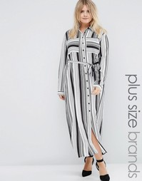 Praslin Plus Maxi Shirt Dress In Stripe