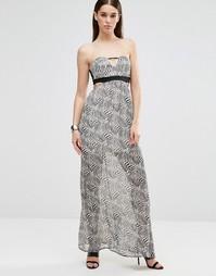 Платье макси без рукавов с вырезом Twin Sister - Zebra