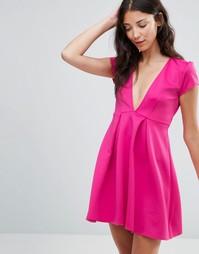 Короткое приталенное платье с глубоким вырезом Twin Sister - Розовый