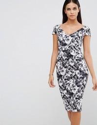 Платье-футляр с цветочным принтом Vesper - Черный принт