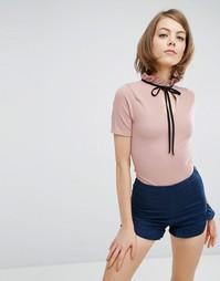 Боди с высокой горловиной Fashion Union - Розовый