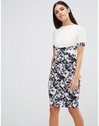 Платье-футляр с монохромным цветочным принтом на юбке Vesper