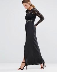 Платье макси с кружевной отделкой и высоким разрезом Elise Ryan