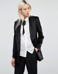 Черный длинный блейзер из фактурной ткани Helene Berman - Черный