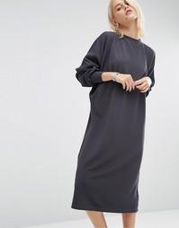 Oversize-платье миди в рубчик ASOS - Серый