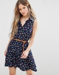Короткое приталенное платье с принтом птицы Madam Rage - Темно-синий