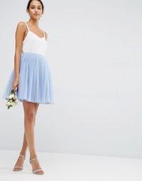 Многослойная юбка мини для выпускного из тюля ASOS WEDDING - Синий