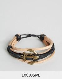 Кожаный браслет с якорем Reclaimed Vintage - Коричневый