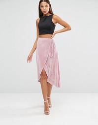 Бархатная юбка миди с запахом ASOS TALL - Телесный