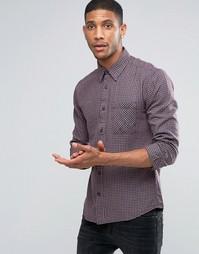 Рубашка в клетку с карманом Selected - Синий