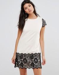 Цельнокройное платье с контрастным кружевом Paper Dolls - Кремовый