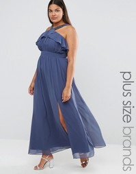 Little Mistress Plus High Neck Ruffle Detail Maxi Dress With Thigh Spl