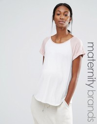 Свободная домашняя футболка для беременных Bluebelle Maternity - Белый