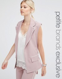 Alter Petite Sleeveless Longline Soft Pyjama Blazer With Contrast Pipi