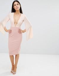 Контрастное платье миди с декольте Rare - Розовый
