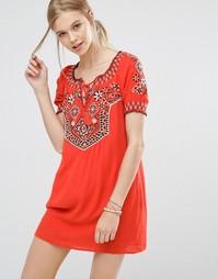 Платье с вышивкой Abercrombie & Fitch - Cc545 paprika