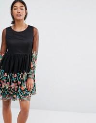 Платье для выпускного с длинными рукавами и вышивкой Boohoo - Черный