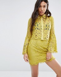 Boohoo Lace Shirt - Лайм