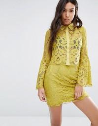 Boohoo Lace Shirt - Лайм