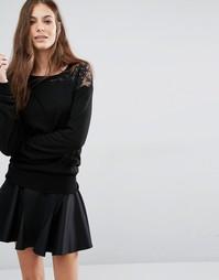 Черный джемпер с кружевной вставкой Sisley - 700