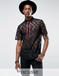 Кружевная рубашка с горловиной на завязке Reclaimed Vintage - Черный