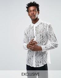 Кружевная рубашка классического кроя Reclaimed Vintage - Белый