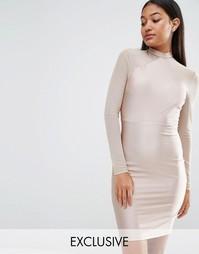 Облегающее платье с сетчатыми рукавами NaaNaa - Серо-коричневый