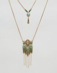 Фестивальное ожерелье с подвесками и кисточками Nylon - Золотой