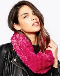 Фактурный шарф‑снуд из искусственного меха Pia Rossini - Фуксия