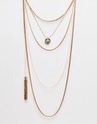 Многослойное ожерелье-цепочка с кисточкой Orelia - Разные металлы