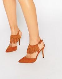Туфли на каблуке с ремешком через пятку и кисточками Blink - Рыжий