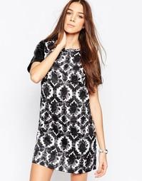 Цельнокройное платье с принтом Madam Rage - Черно-белый