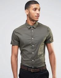 Зауженная рубашка цвета хаки с короткими рукавами ASOS - Хаки