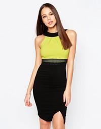 Платье‑футляр с контрастным топом Vesper Julietta - Лайм