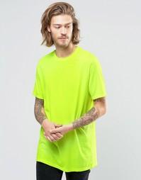 Желтая удлиненная футболка с круглым вырезом ASOS - Yellow fluro