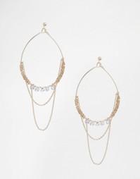 Серьги-кольца с цепочкой и бусинами Oasis - Бледно-золотистый Orelia