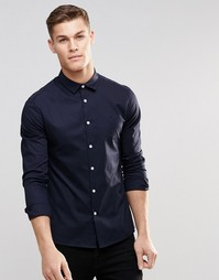 Облегающая темно-синяя рубашка ASOS - Темно-синий