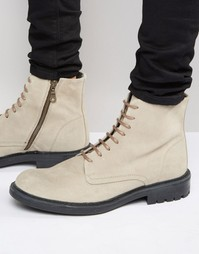 Замшевые ботинки на шнуровке Walk London Stratford - Бежевый