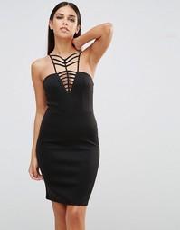 Платье мини с V-образным вырезом и решеткой из лямок Club L - Черный