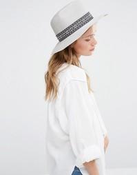 Мягкая фетровая шляпа с широкими полями и принтом Liquorish - Серый