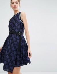 Платье в клетку с поясом Sportmax Code - 002 navy