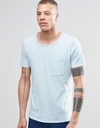 Светло-голубая футболка с карманом Nudie - Светло-голубой