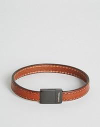 Светло-коричневый кожаный браслет с декоративной строчкой Ted Baker