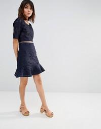 Кружевная мини-юбка с баской J.O.A - Темно-синий