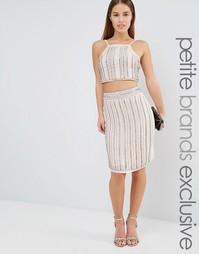 Декорированная юбка миди True Decadence Petite Co-Ord - Серебряный