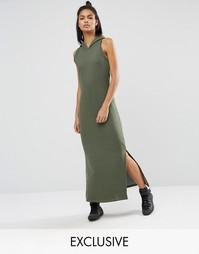 Платье макси цвета хаки с капюшоном Nocozo - Хаки