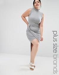 Платье без рукавов с драпировкой Missguided Plus - Серый