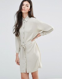 Платье-рубашка с поясом Love - Хаки светлый