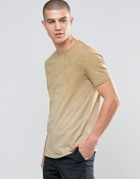 Выцветшая футболка с круглым вырезом и пальмовым узором Celio - Хаки