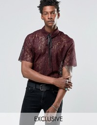 Кружевная рубашка с горловиной на завязке Reclaimed Vintage